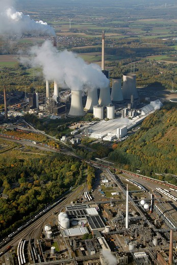 Stock Photo: 1848-494843 Aerial view, EON STEAG coal_fired power plant in Gelsenkirchen_Scholven, Ruhr Area, North Rhine_Westphalia, Germany, Europe