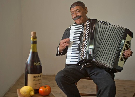 Stock Photo: 1848-495340 Portrait of Joao Nathis, 73, who enjoys busking with his twin brother, Lagos, Algarve, Portugal, Europe