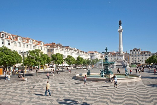 Stock Photo: 1848-495384 Rossio Square, Lisbon, Portugal, Europe