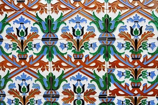 Old Spanish tiles, azulejos, Comillas, Cantabria, Spain, Europe : Stock Photo