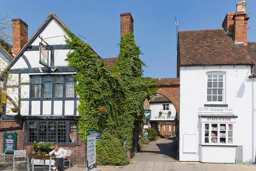 The White Swan Hotel, Rother Street, Stratford_upon_Avon, Warwickshire, England, United Kingdom, Europe : Stock Photo