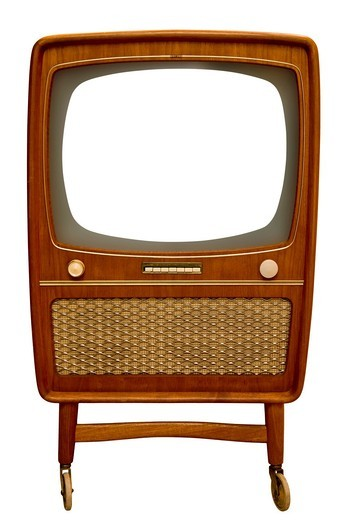 Stock Photo: 1848-495910 Old wooden television set with white screen