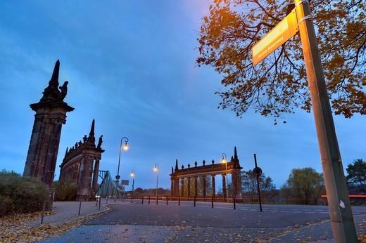 Sign post from the Berliner Mauerweg to the Glienicker Bruecke bridge, Potsdam, Brandenburg, Germany, Europe : Stock Photo