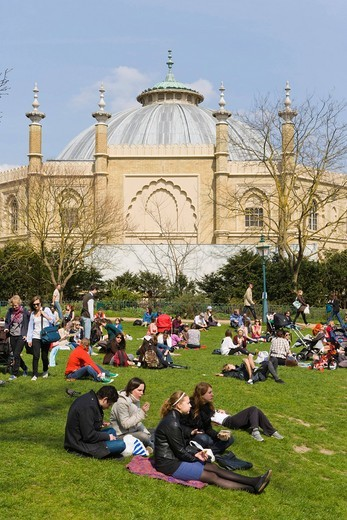 Brighton Dome from Royal Pavilion Gardens, Brighton, East Sussex, England, United Kingdom, Europe : Stock Photo