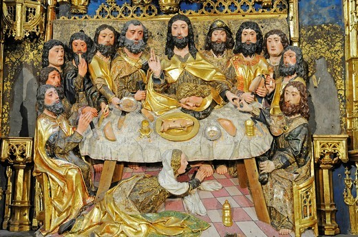 Stock Photo: 1848-496240 Communion, representation of a Christian scene, altar of the church of Cartuja de Miraflores, Carthusian convent, Burgos, Castilla y Leon province, Spain, Europe
