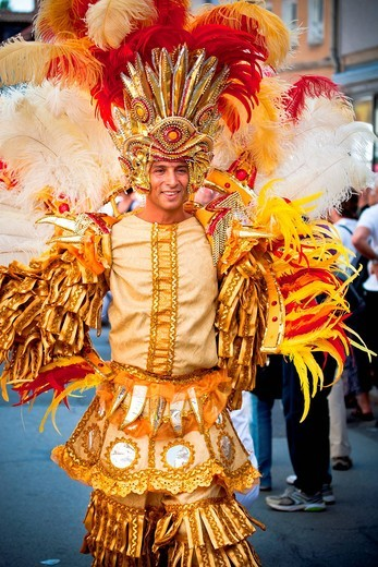 Male samba dancer, Samba Festival, Coburg, Bavaria, Germany, Europe : Stock Photo