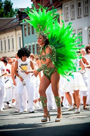 Female samba dancer, Samba Festival, Coburg, Bavaria, Germany, Europe : Stock Photo