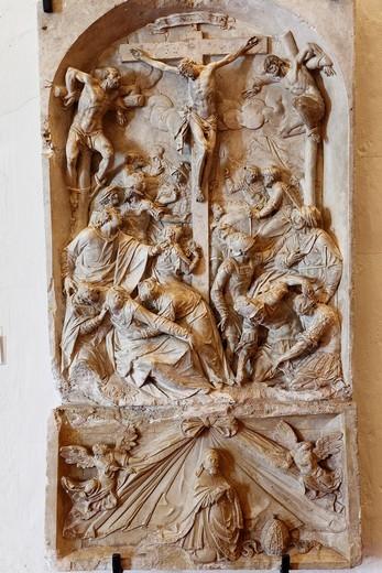 Stock Photo: 1848-496894 Relief, Crucifixion of Christ by Kilian Fuchs, 17th Century, Goettweig Abbey, Wachau, Mostviertel, Must Quarter, Lower Austria, Austria, Europe
