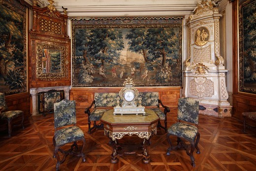 Gobelinzimmer, Tapestry Room in the Imperial Wing, Goettweig Abbey, Wachau, Mostviertel, Must Quarter, Lower Austria, Austria, Europe : Stock Photo