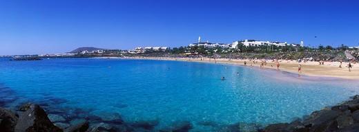 Stock Photo: 1848-496957 Sandy beach, Playa Dorada, Playa Blanca, Lanzarote, Canary Islands, Spain, Europe