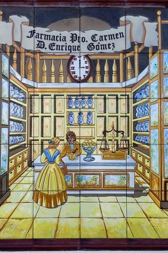 Pharmacy sign, faience ceramics, Puerto del Carmen, Lanzarote, Canary Islands, Spain, Europe : Stock Photo