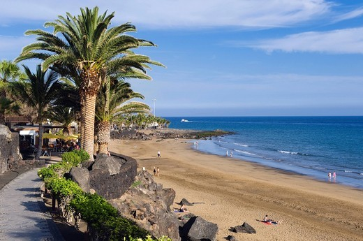 Playa Grande beach, Puerto del Carmen, Lanzarote, Canary Islands, Spain, Europe : Stock Photo
