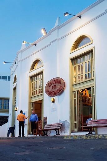 Restaurant, La Lonja, at the fishing port at night, Puerto del Carmen, Lanzarote, Canary Islands, Spain, Europe : Stock Photo