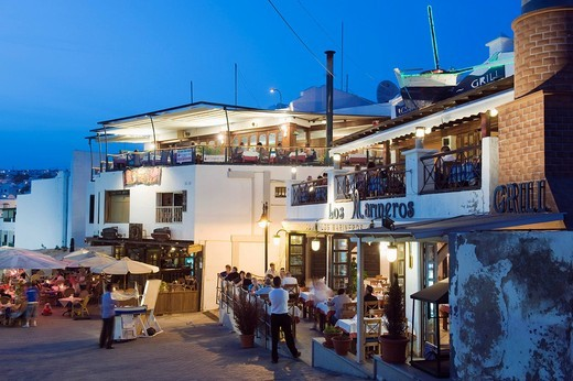 Restaurants at the fishing port at night, Puerto del Carmen, Lanzarote, Canary Islands, Spain, Europe : Stock Photo
