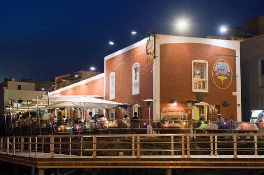 Restaurant, Casa Roja, at the fishing port at night, Puerto del Carmen, Lanzarote, Canary Islands, Spain, Europe : Stock Photo