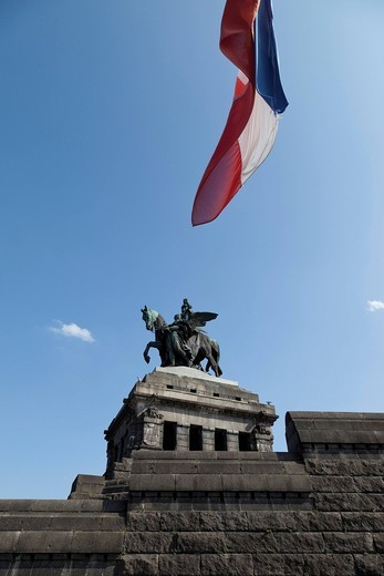 Equestrian monument, Kaiser Wilhelm 1, Deutsches Eck, Koblenz, North Rhine_Westphalia, Germany, Europe : Stock Photo