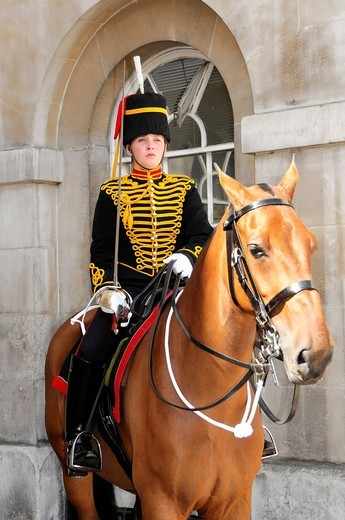 Horse Guard, Household Cavalry Barracks, Elite Force, Whitehall, London, England, United Kingdom, Europe : Stock Photo