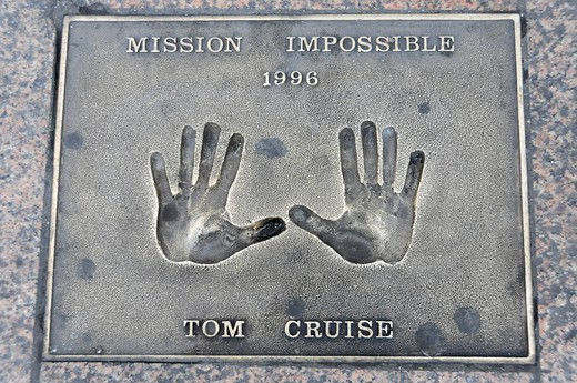 Hand print of Tom Cruise, Leicester Square, London, England, United Kingdom, Europe : Stock Photo
