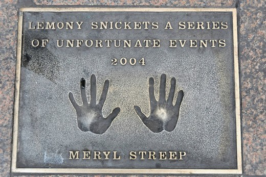 Hand print of Meryl Streep, Leicester Square, London, England, United Kingdom, Europe : Stock Photo