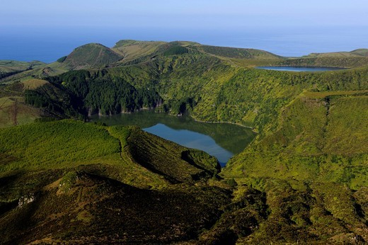 Crater lake Caldeira Funda and Caldeira Rasa on the island of Flores, Azores, Portugal : Stock Photo
