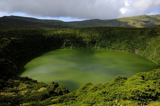 Crater lakes, Caldeira Funda, Caldeira Negra, on the island of Flores, Azores, Portugal : Stock Photo