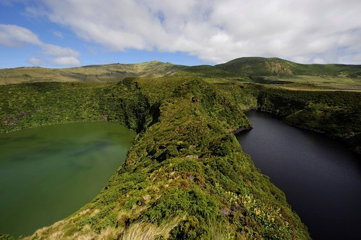 Caldeira Comprida and Caldeira Funda crater lakes on the island of Flores, Azores, Portugal : Stock Photo