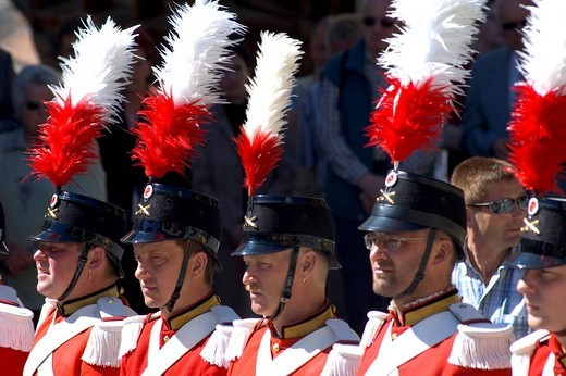 Corpus Christi procession Grenadiers of the Lord Wiler Valais Switzerland : Stock Photo