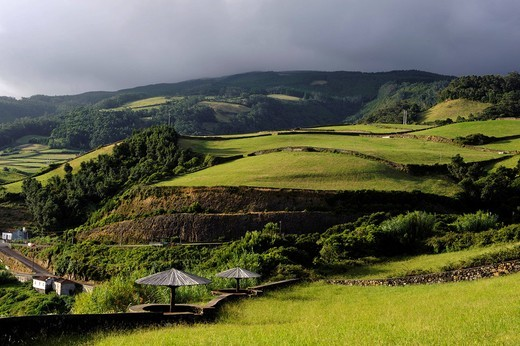 Fields near Biscoitos on the island of Terceira, Azores, Portugal : Stock Photo