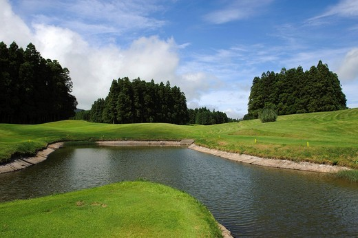 Golf course at Furnas on the island of Sao Miguel, Azores, Portugal : Stock Photo