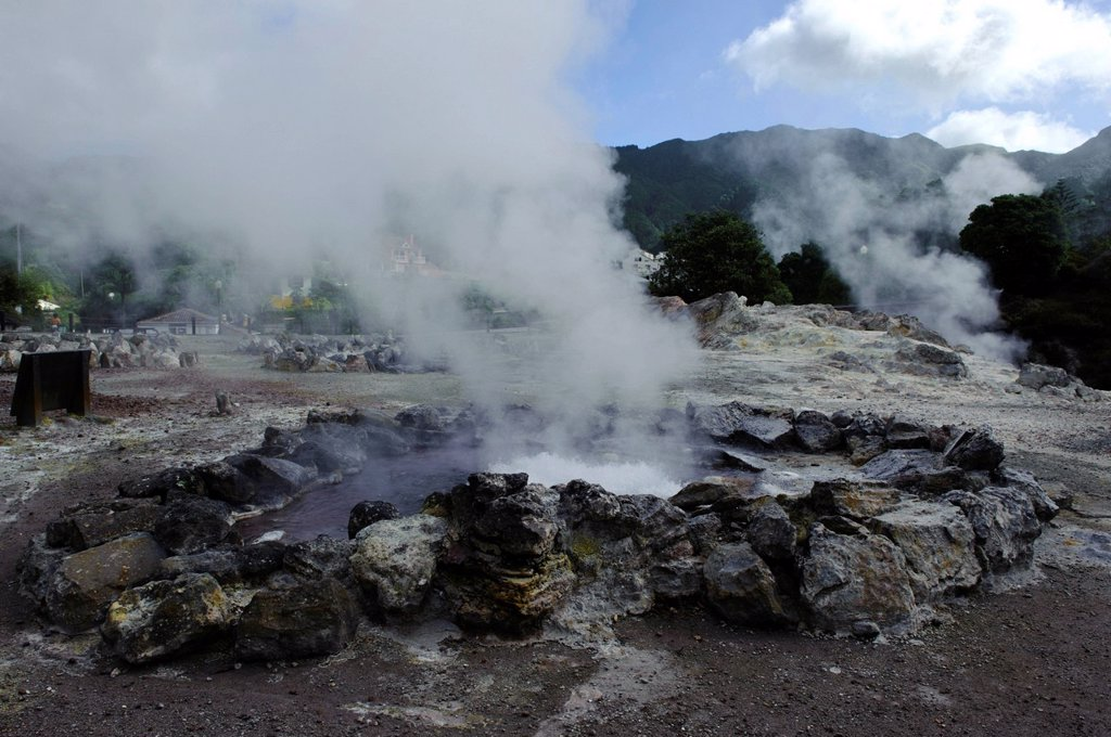 Stock Photo: 1848-497400 Fumarole in Furnas on the island of Sao Miguel, Azores, Portugal