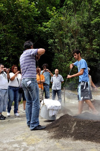 Cooking Cozido, stew, in volcanic soil at Lagoa das Furnas on the island of Sao Miguel, Azores, Portugal : Stock Photo