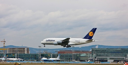 Stock Photo: 1848-497555 Lufthansa Airbus A380 landing at Frankfurt Airport, Hesse, Germany, Europe