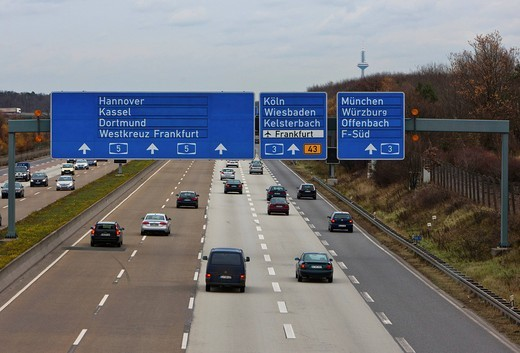 Busy A5 motorway near Frankfurt, Hesse, Germany, Europe : Stock Photo
