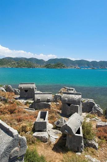 Stock Photo: 1848-497980 Sarcophagi of Ucagiz, southern coast of Turkey