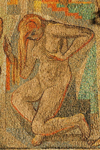 Stock Photo: 1848-49803 Naked female dancer, mosaic at the concert hall Duesseldorf, NRW, Germany