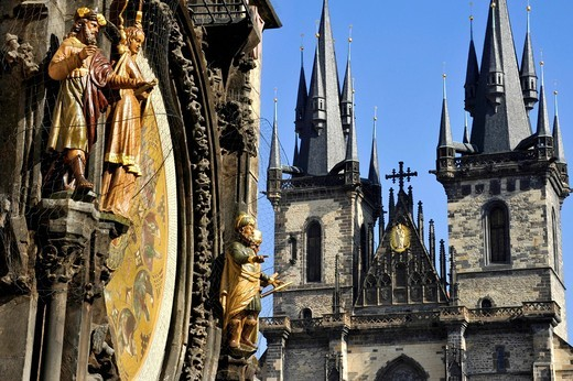 Allegorical statues on the Prague Astronomical Clock on the clock tower of the Old Town City Hall, Tyn Church, Old Town Square, historic district, Prague, Bohemia, Czech Republic, Europe : Stock Photo