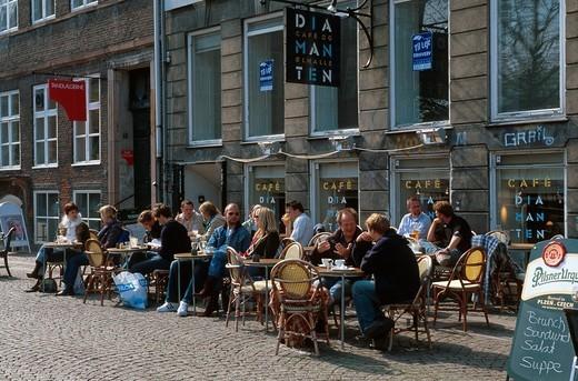 Restaurant on Gammel Strand, old beach, Copenhagen, Denmark, Europe : Stock Photo