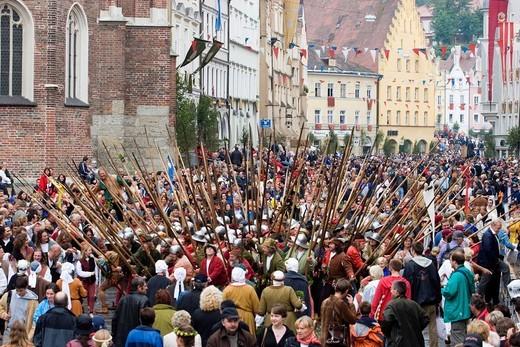 Landshut Landshuter Hochzeit festival sovereign wedding Landshut Bavaria Germany : Stock Photo