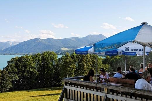Lake Tegernsee, beer garden Kaltenbrunn, Upper Bavaria Germany : Stock Photo