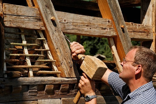 Framework conservator, open_air museum Fladungen, Rhoen, Franconia, Bavaria, Germany : Stock Photo