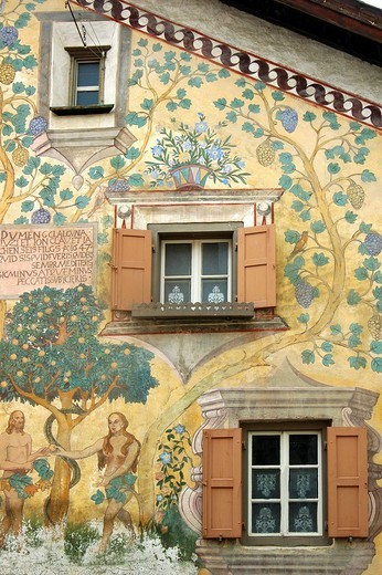 Stock Photo: 1848-49864 Adam and Eve in the Garden of Eden, Sgraffito outdoor wall painting, Ardez, Engadin, Grisons, Switzerland