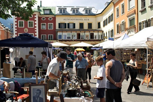 Flea market in Lienz in East Tyrol _ Austria : Stock Photo