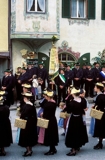 Feast of Corpus Christi in Marktschellenberg near Berchtesgaden Upper Bavaria Germany : Stock Photo
