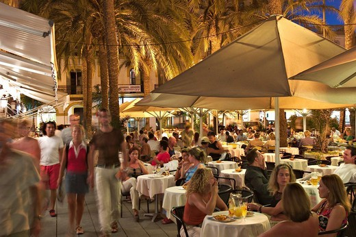 Night in Eivissa _ capital of Ibiza : Stock Photo
