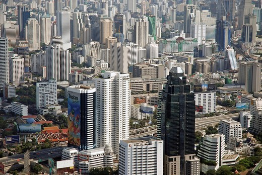 Stock Photo: 1848-499526 Look from the Baiyoke tower, topmost building of Thailand, Bangkok, Thailand, Asia