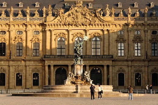 Residence Wuerzburg, Franconia fountain, Franconia, Bavaria, Germany : Stock Photo