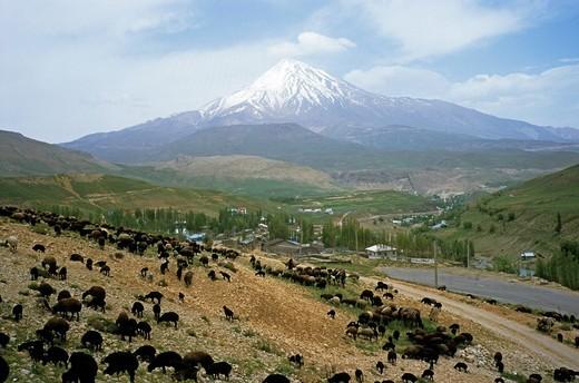 Mount Damavand, highest mountain in Iran, county of Mazandaran, Iran : Stock Photo