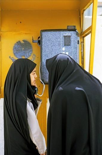 Stock Photo: 1848-500556 Phone booth, women, Iran