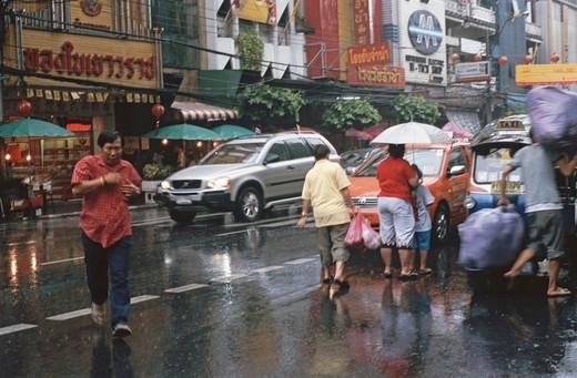 Stock Photo: 1848-500612 Monsoon rain, Chinatown, Bangkok, Thailand