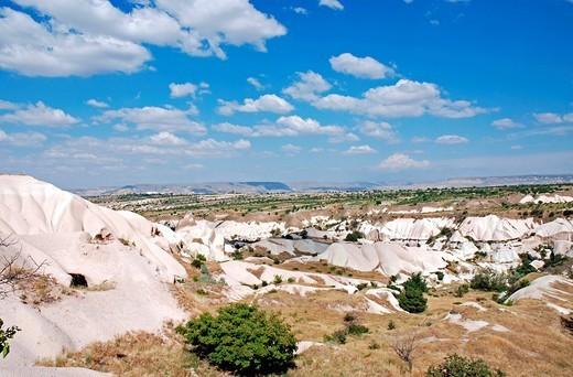 Valley, tuff landscape near Goereme, Cappadocia, Anatolia, Turkey : Stock Photo